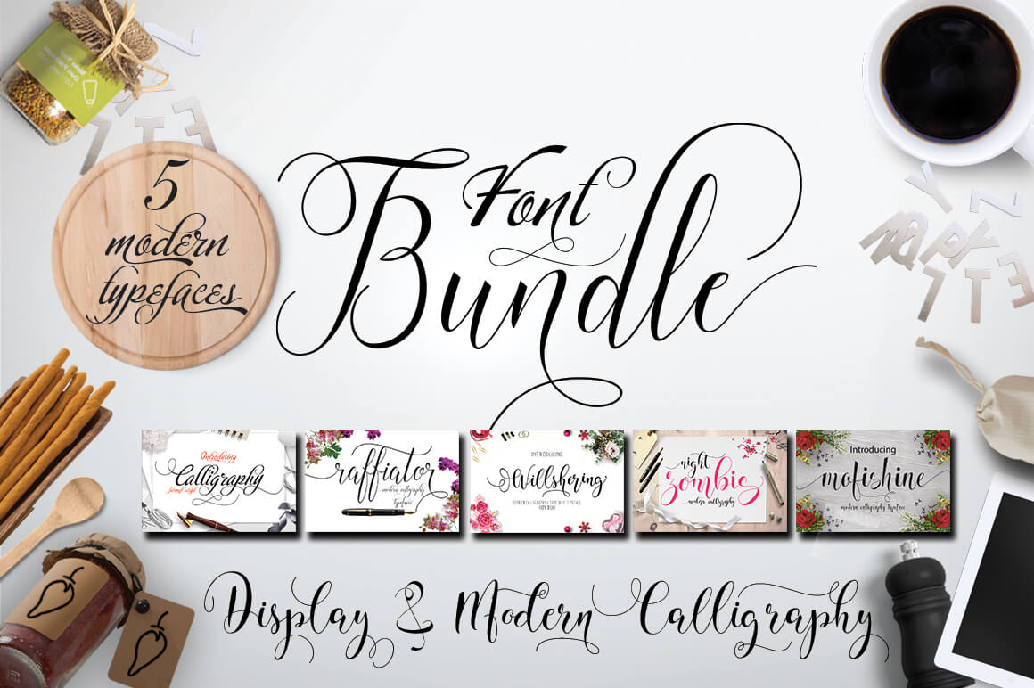 5 Elegant Calligraphy Fonts from Moriztype Studio - only $9!