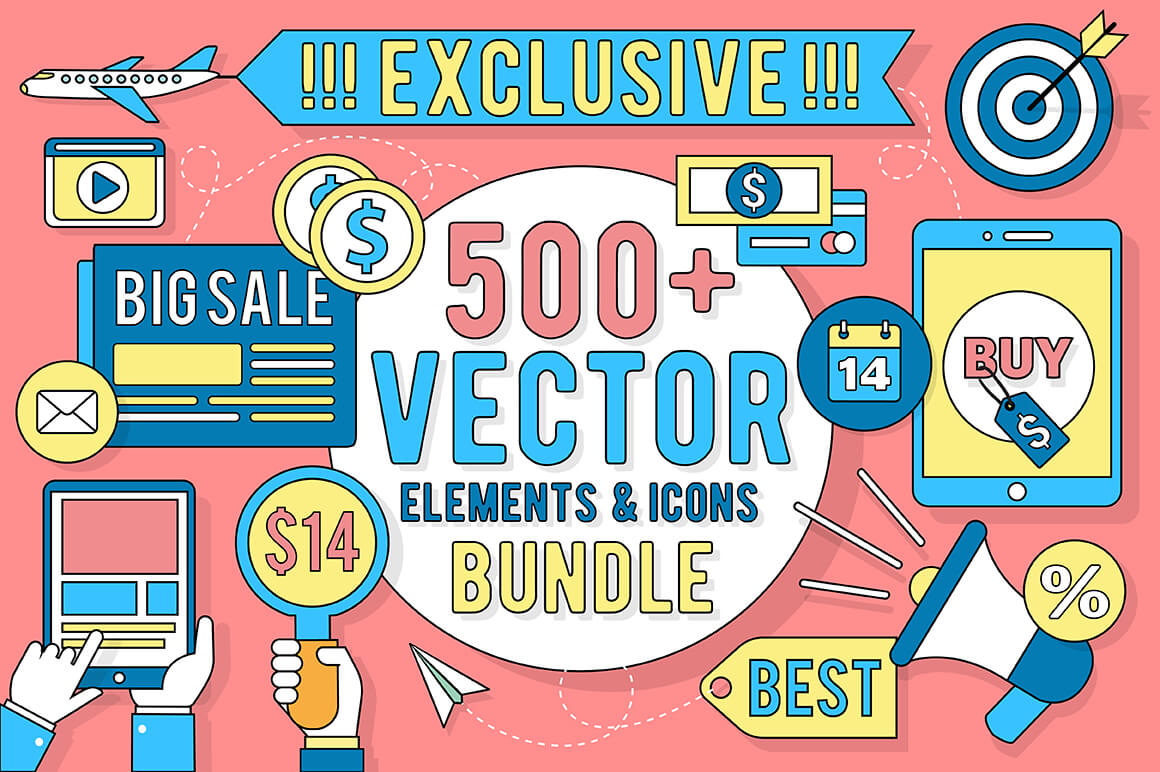 Mighty Deals Exclusive! 500+ Linear Vector Elements & Icons - only $14!