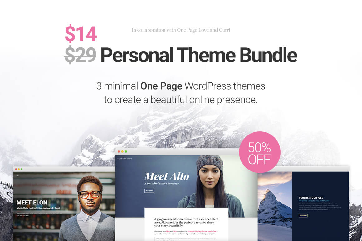 One Page WordPress Theme Bundle from Currl – only $14!