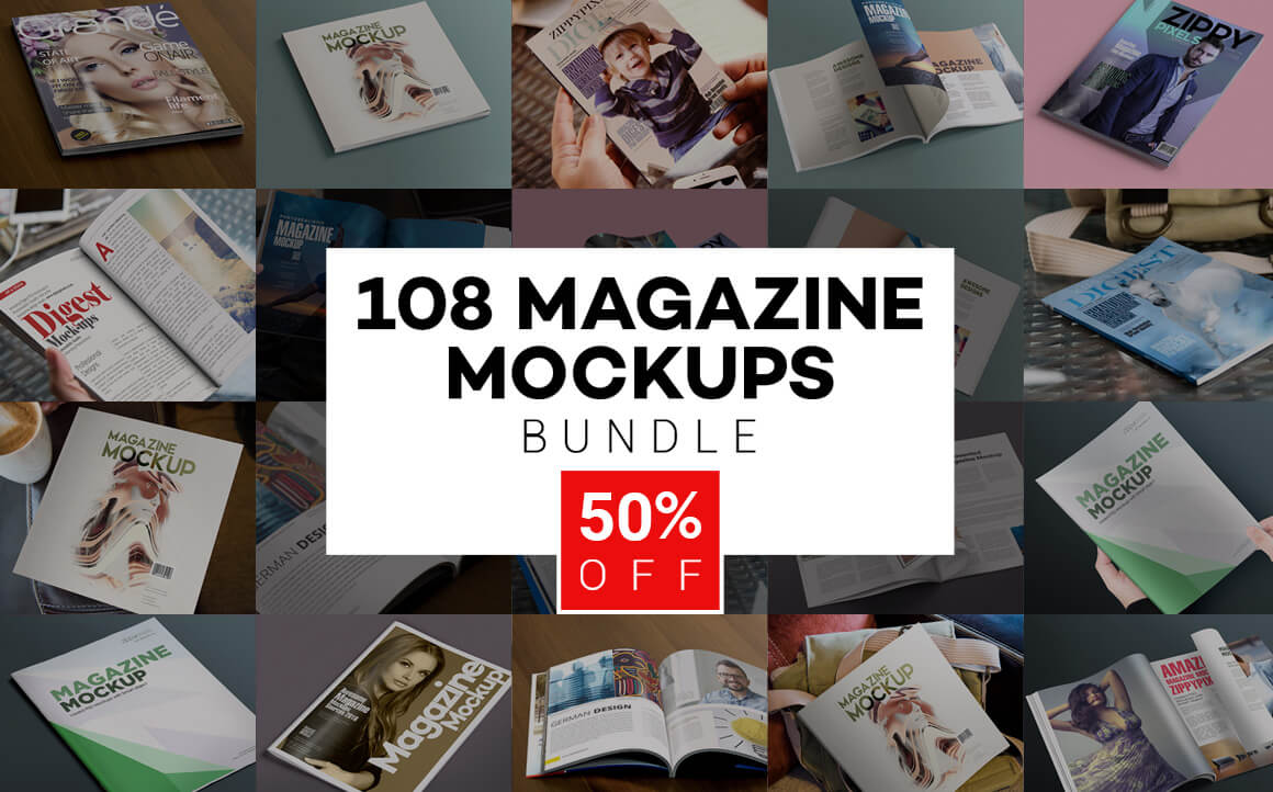 108 Hi-Res Magazine Mockups from Zippy Pixels  – only $17!