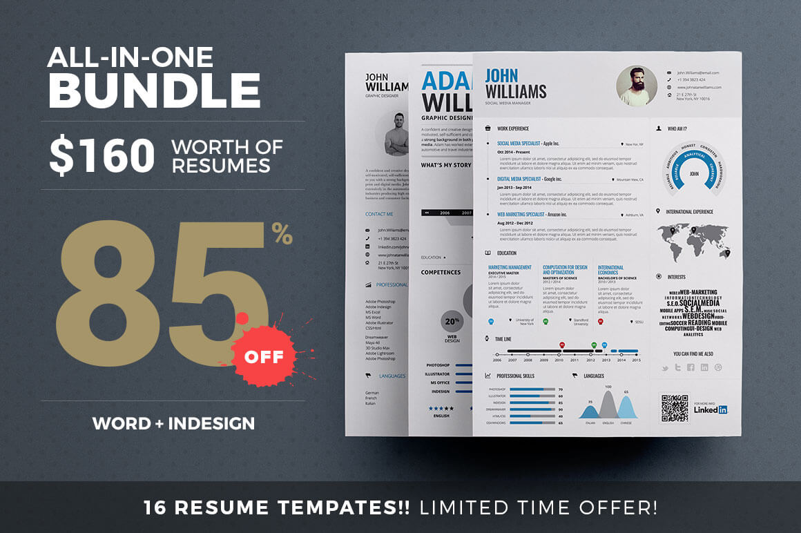 16 Print-Ready Creative Resume Templates from TheResumeCreator – only $24!