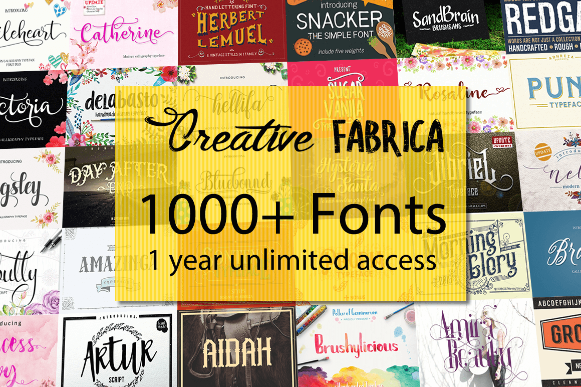 1 Year Unlimited Access to 1300+ Premium Fonts – only $27!