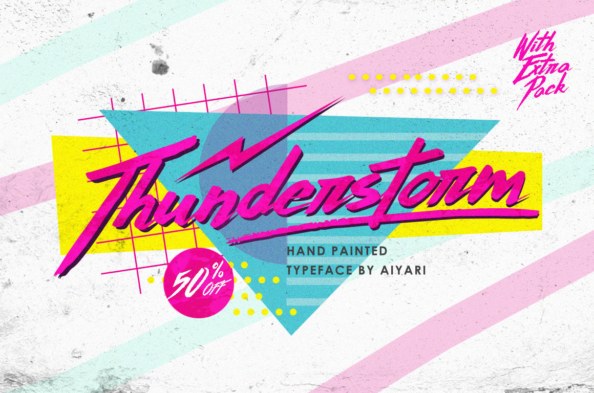 '80s Inspired Hand-Made Brush Script Thunderstorm Typeface – only $7!
