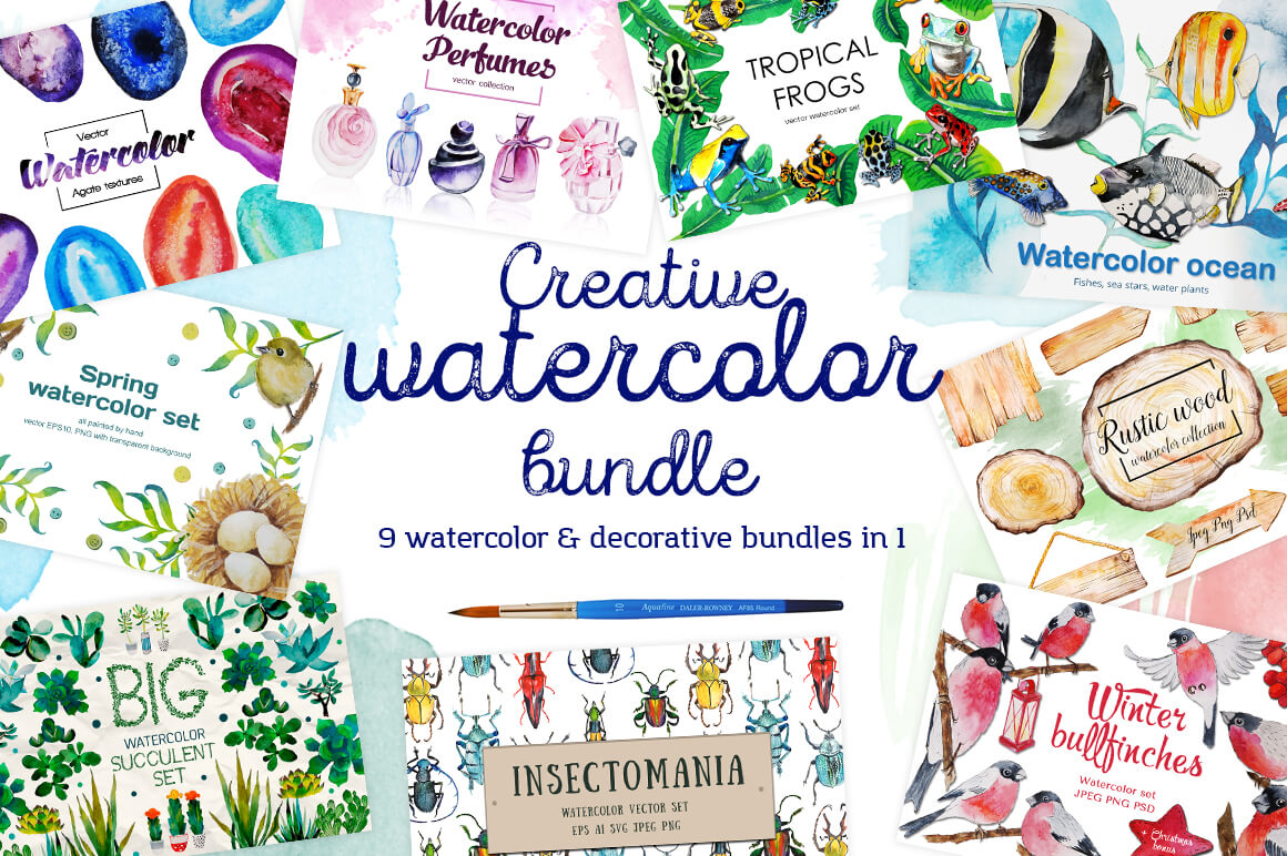 9 Gorgeous Creative Watercolor Collections from Maria Letta – only $18!