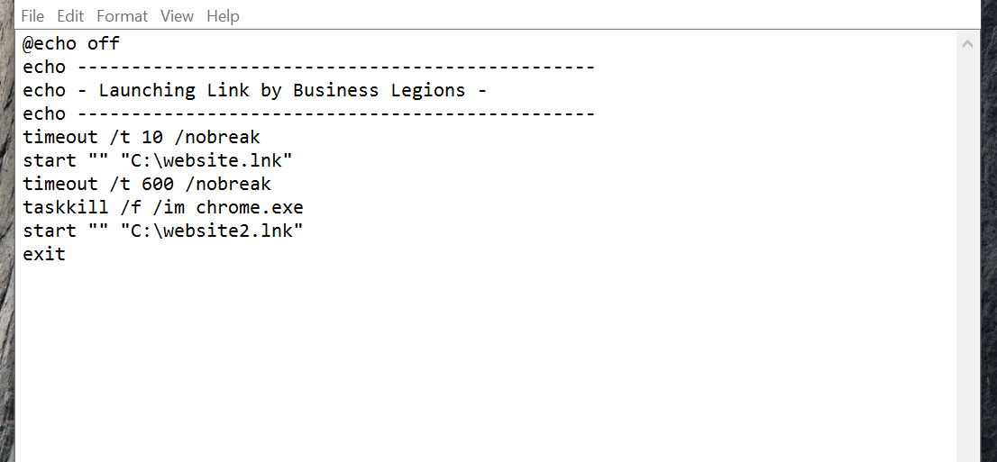 Business Legions Batch File Issue