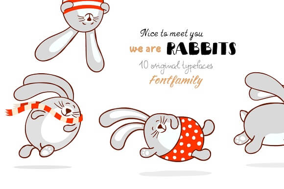 Kid-Friendly TT Rabbits Font Family of 10 Adorable Typefaces – only $9!