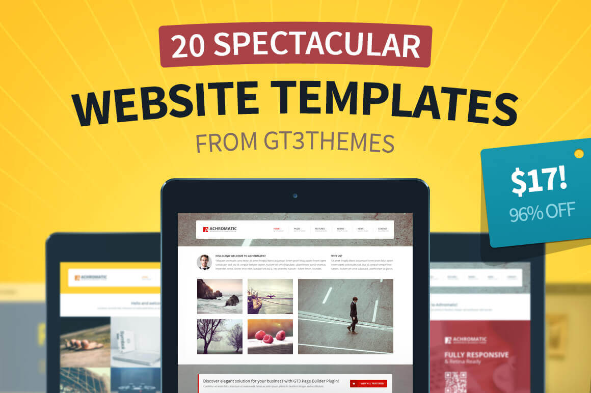 20 Superb New Website Templates from GT3Themes - only $17!