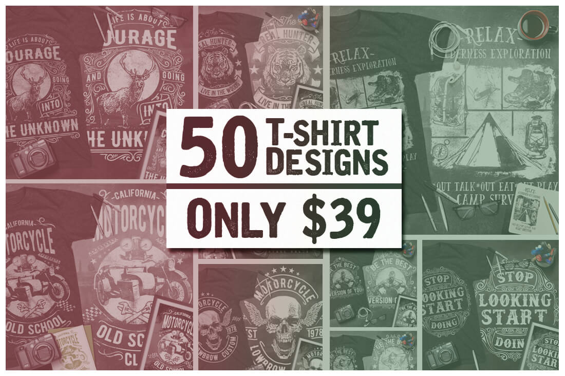 50 Premium T-Shirt Designs with Extended License – only $27!