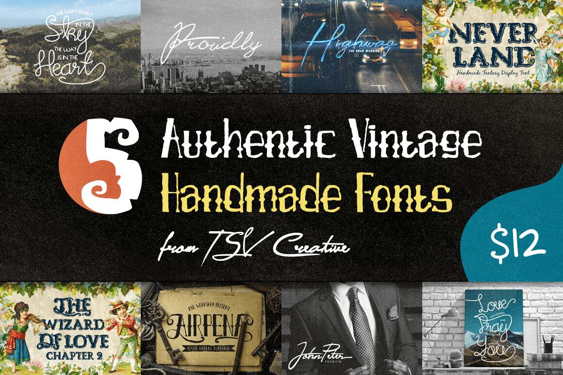 5 Authentic Vintage Handmade Fonts from TSV Creative – only $12!