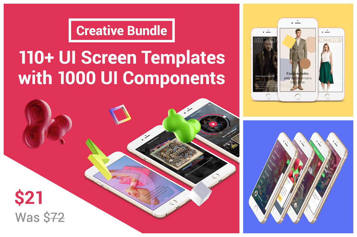 Creative Bundle: 110+ UI Screen Templates with 1000 UI Components – only $21!