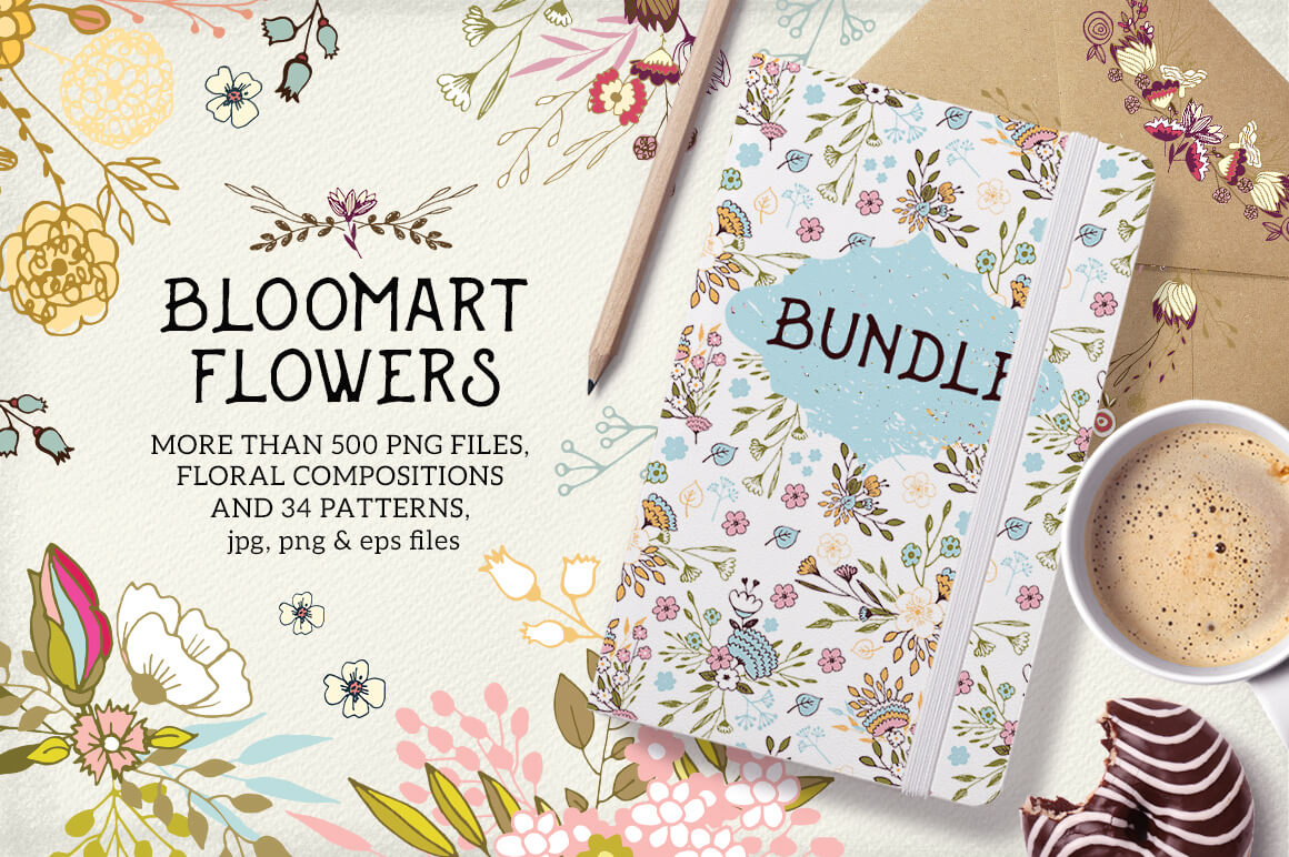 Flowers Bundle:  500+ Floral Compositions and 34 Patterns – $19!