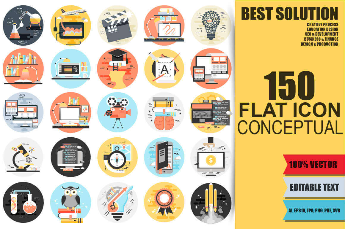 150 Professional Flat Conceptual Icons – only $12!
