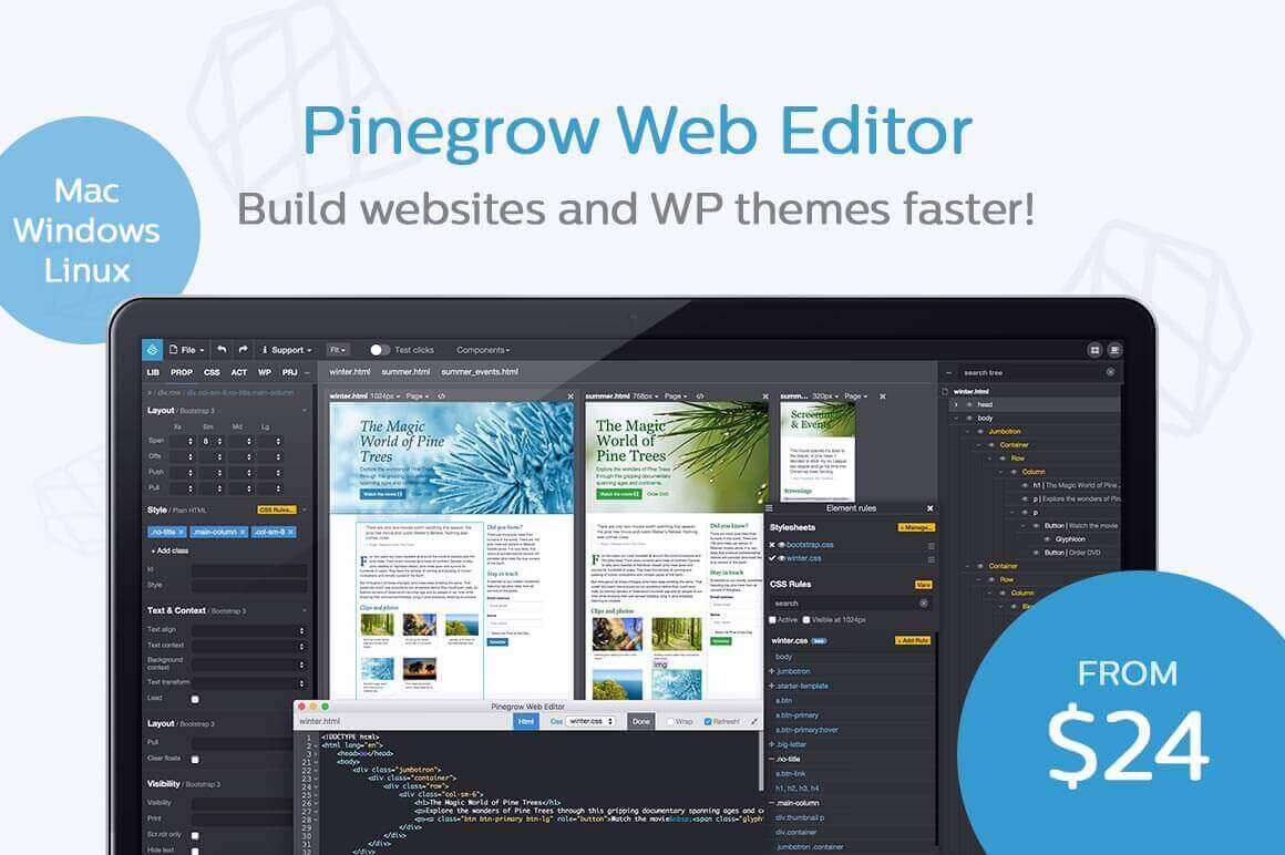 Build Websites and WP Themes Faster with Pinegrow Web Designer – only $24!