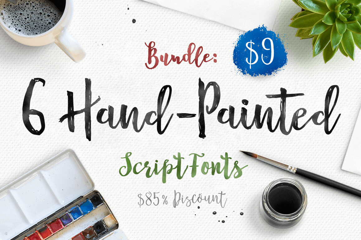 Bundle: 6 Hand-Painted Script Fonts from Dhan Studio – only $9!