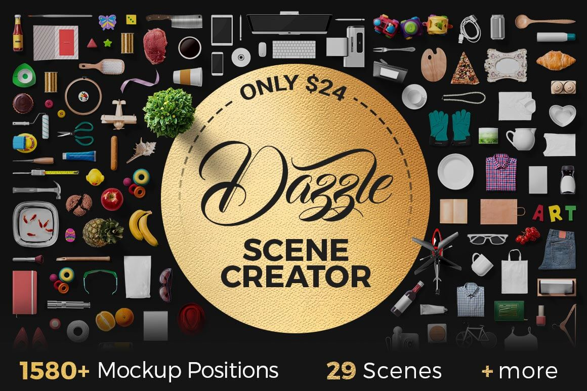 Dazzle-Mockup Scene Creator with 1500+ Mockup Positions, 30+ Ready-Made Scenes & more – only $24!