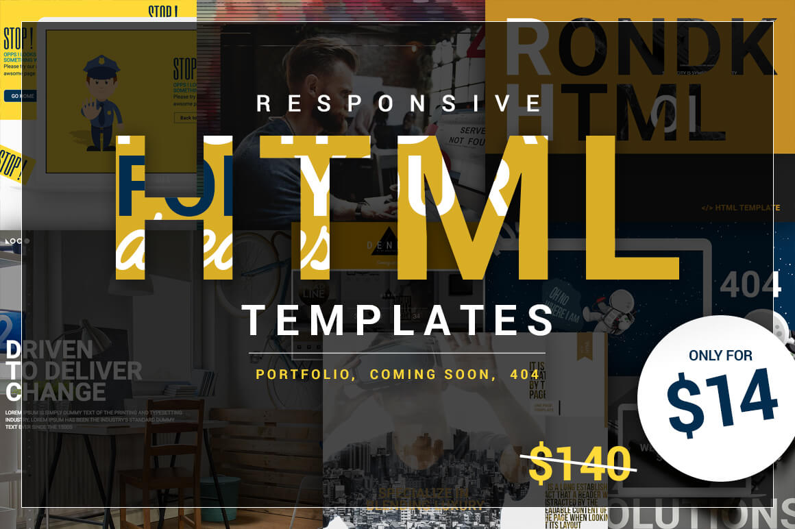 10 Beautifully Designed Responsive HTML Templates – only $14!