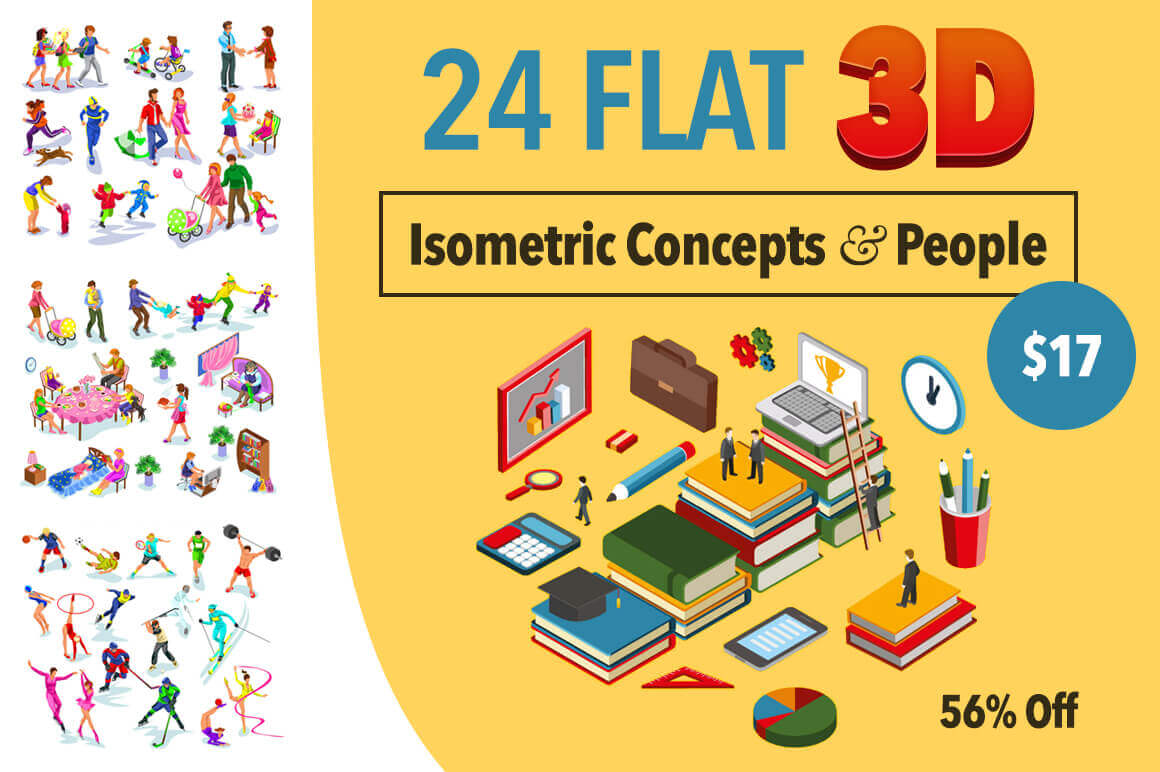 24 Flat, 3D Isometric Concepts and People – only $17!