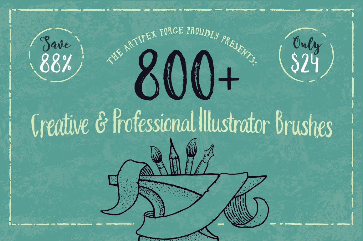 800+ Creative and Professional Illustrator Brushes - only $24!