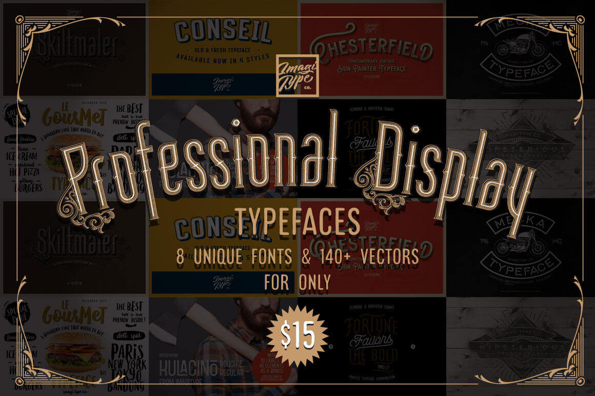 8 Vintage Professional Display Fonts and Shapes – only $15!