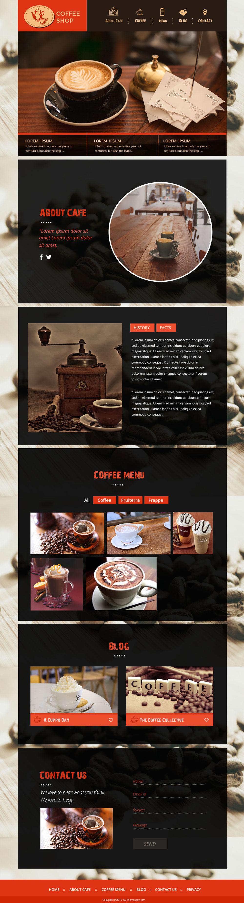 Grab Coffee Shop – One Page PSD Template For Free
