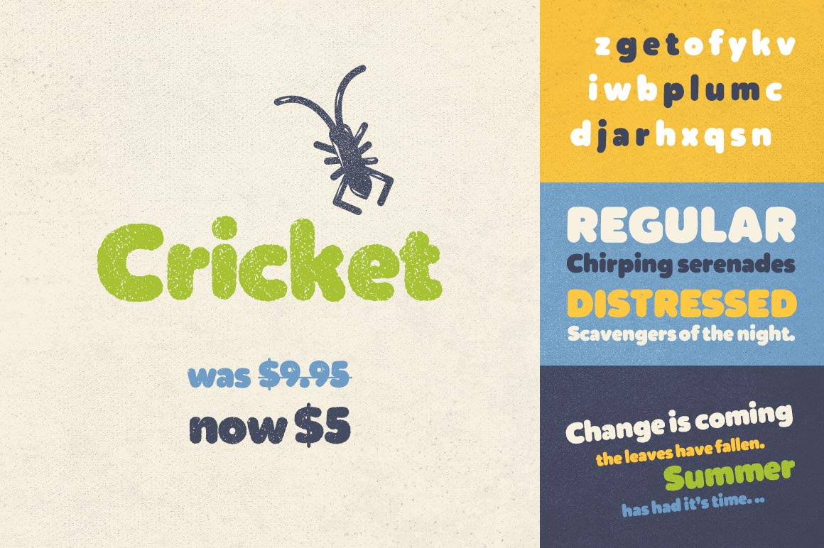 Cricket Font in Regular & Distressed Styles – only $5!