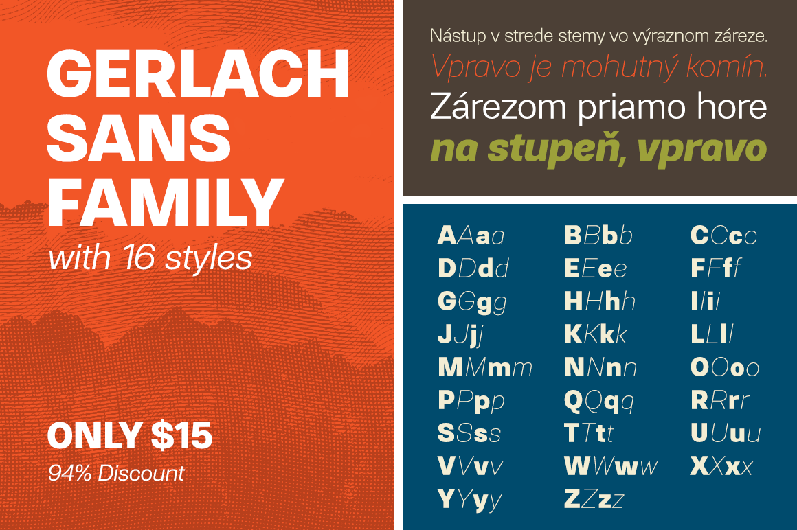 Gerlach Sans Family with 16 styles – only $15!