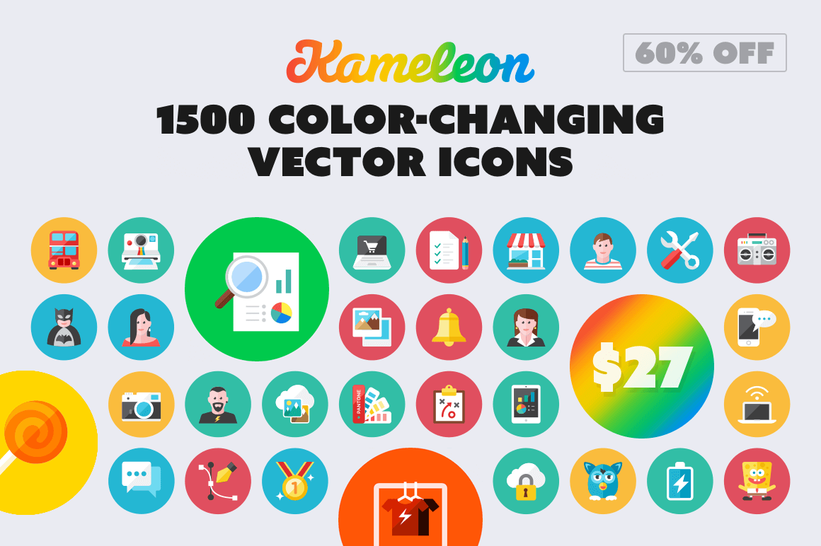 Kameleon's 1500 Color-Changing Vector Icons – only $27!