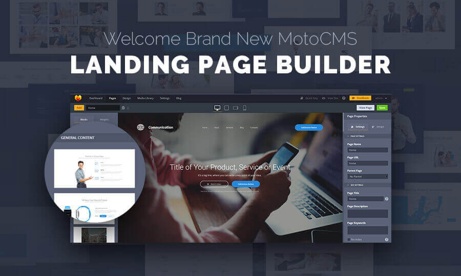 Quickly and Easily Create Landing Pages with MotoCMS  – only $9!