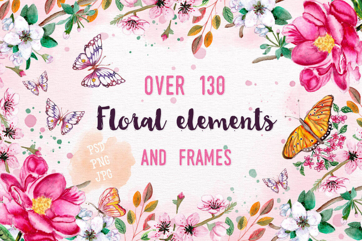 130+ Clip-art Floral Elements and Frames – only $18!