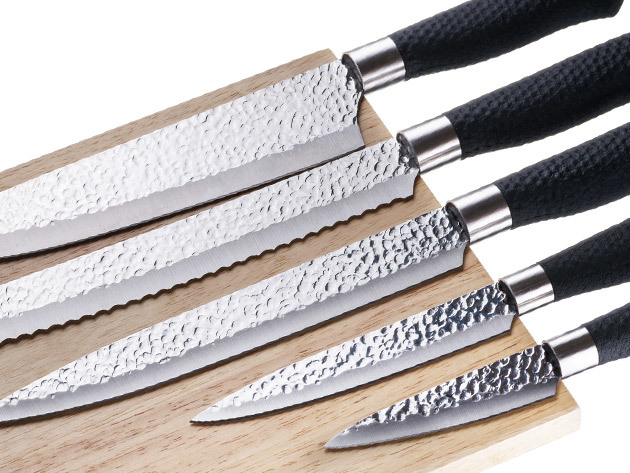 Nuvita 6-Piece Stainless Steel Knife Set with Magnetic Wooden Block for $19