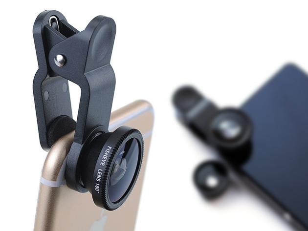 Universal 3-in-1 Lens Kit for Smartphones & Tablets for $11