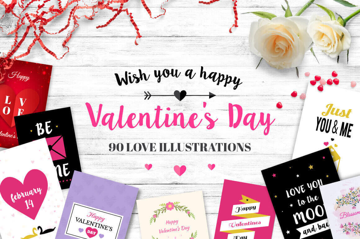 Bundle: 90+ Valentine's Day Illustrations – only $15!
