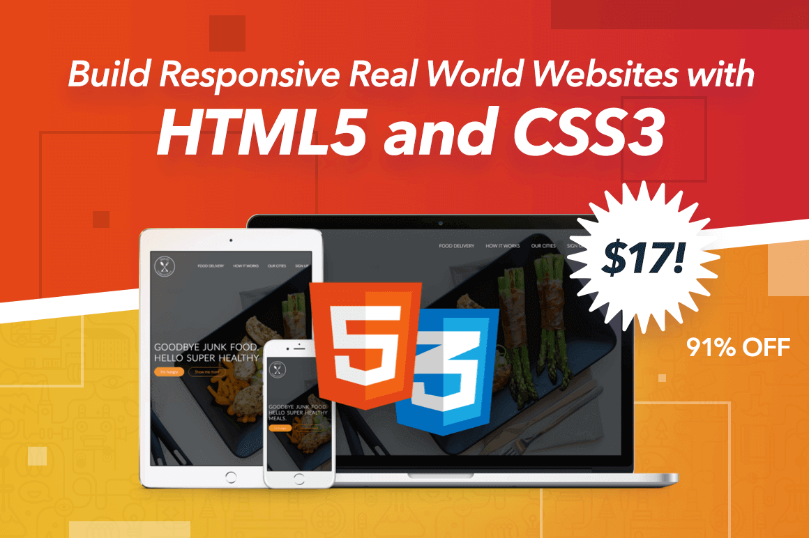 Video Course: Build Responsive Real World Websites with HTML5 and CSS3 – only $17!