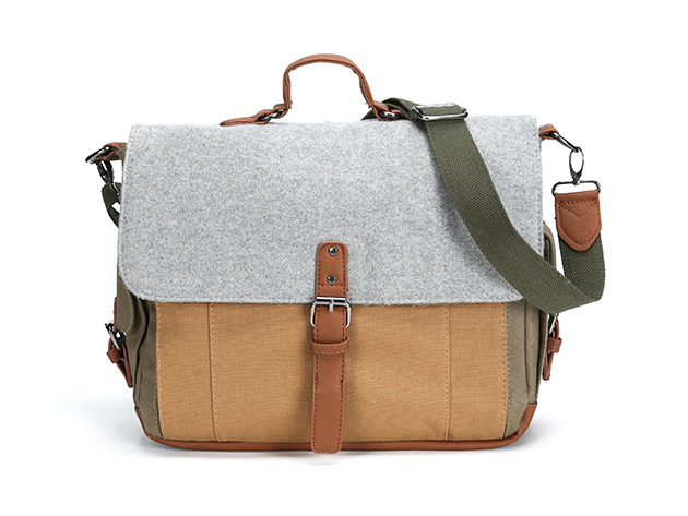 Something Strong Tri-Color Canvas & Wool Messenger for $49