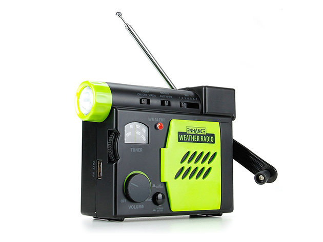 Enhance Emergency Weather Radio with Flashlight, Hand Crank, Loud Siren & Charger for $24