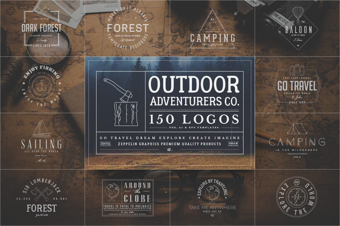150 Customizable Outdoor Adventurers Logos from Graphicdome – only $9!