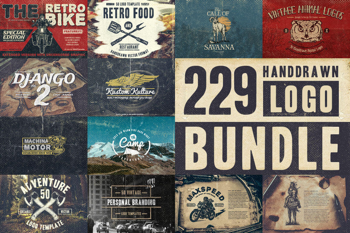 225+ Authentic Hand Drawn Logos from TSV Creative – only $14!