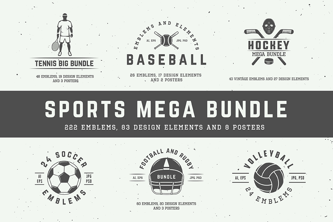 300+ Professional Sports Emblems and Elements – only $17!