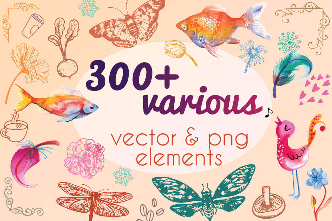 Bundle: 300+ Professional, Colorful Vector and PNG Elements – only $12!