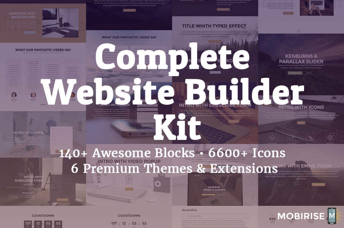 Complete Website Builder Kit for Mobirise, 400+ Blocks, 7000+ Icons – only $37!