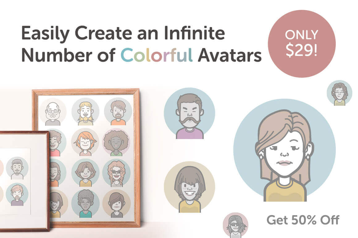 Easily Create an Infinite Number of Colorful Avatars – only $29!
