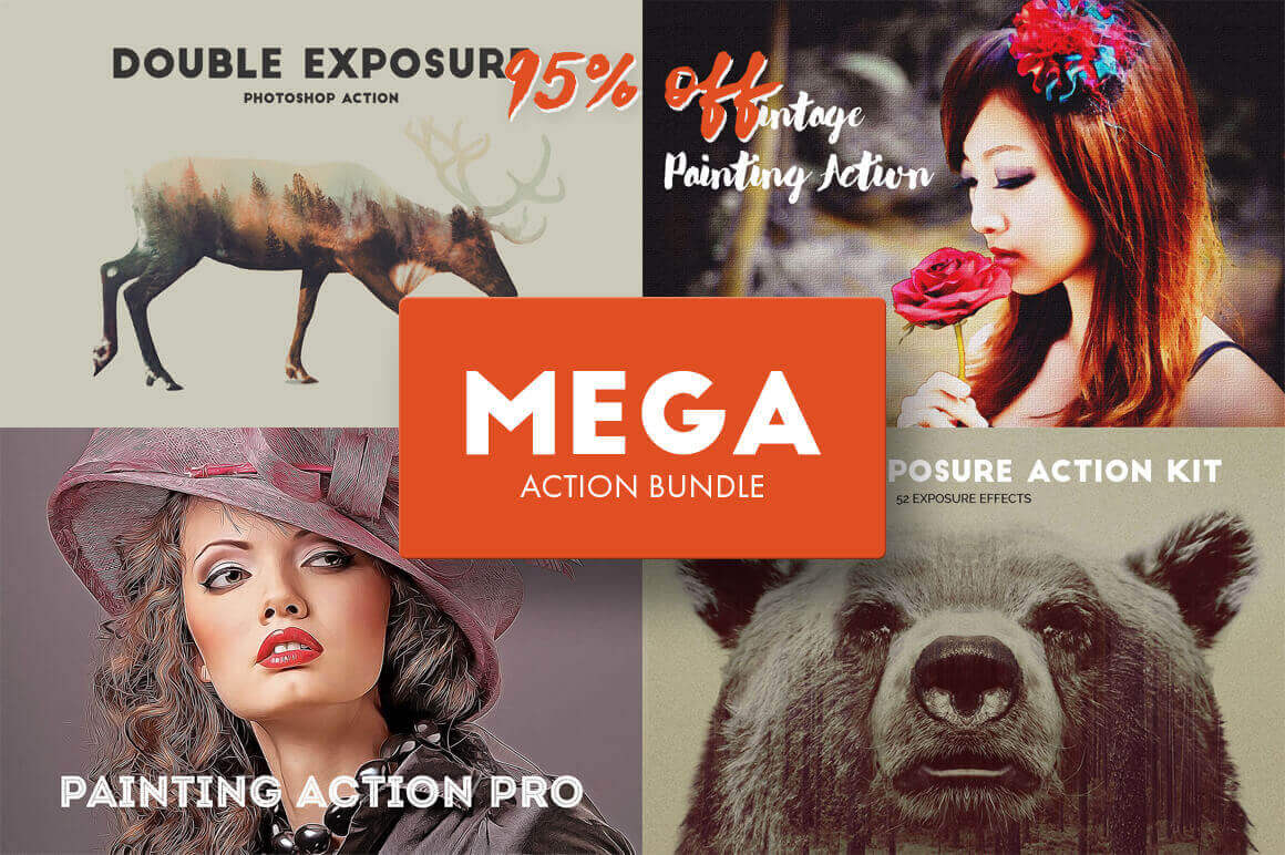 Mega Action Bundle of 4 Photoshop Add-Ons from Krystal Designs Co. – only $19!