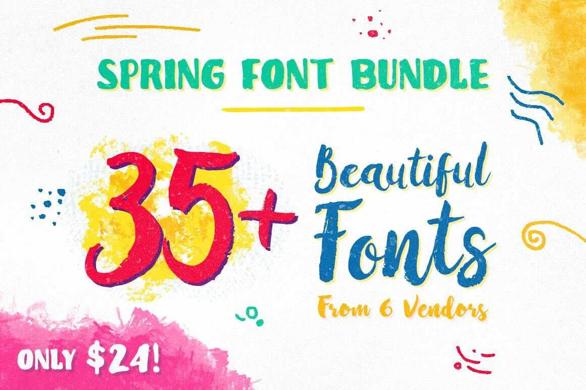 Spring Font Bundle – 35+ Beautiful Fonts from 6 Designers – only $24!