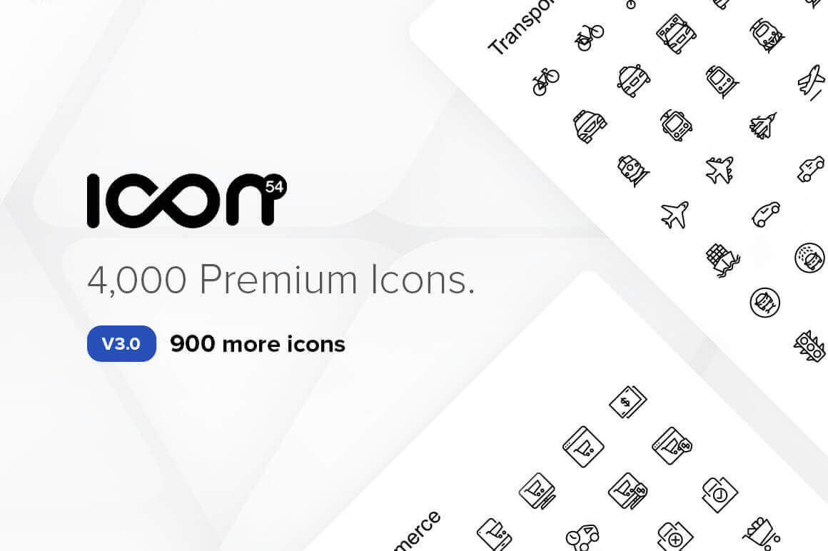 The Icon54 v3.0 Collection of 4,000 Perfect Icons – 85 Categories – only $19!