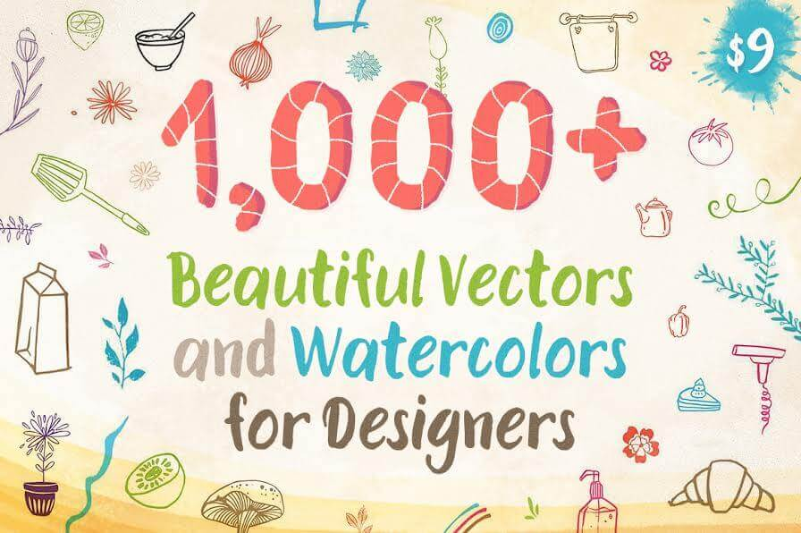 1,000+ Beautiful Vectors and Watercolors for Designers – only $9!