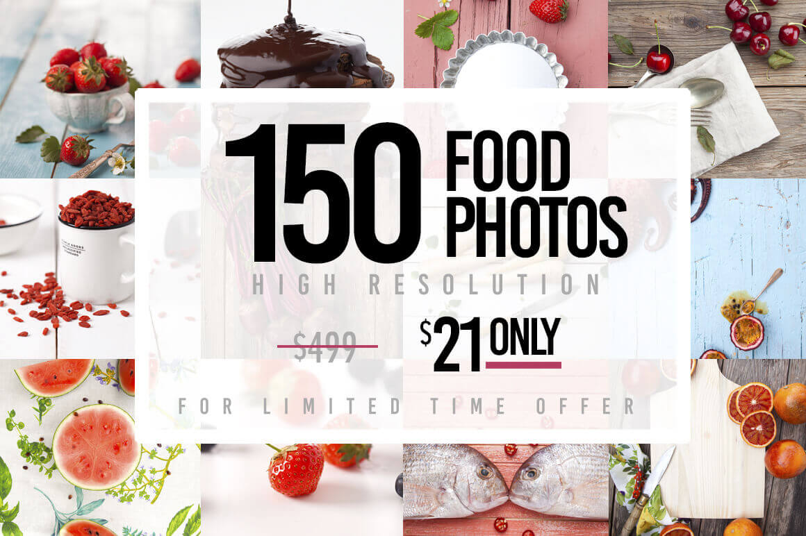 150 Hi-Res Food Photos from Yummy Stock – only $21!