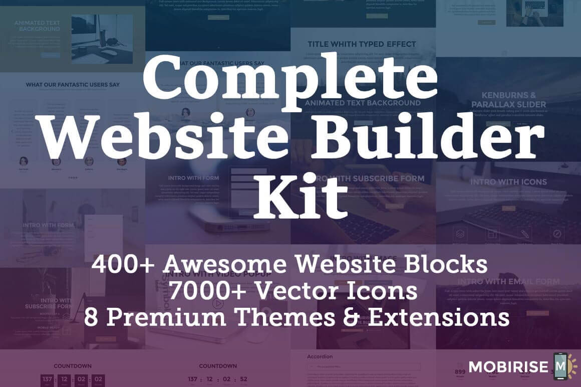 LAST CHANCE: Complete Website Builder Kit for Mobirise, 400+ Blocks, 7000+ Icons – only $37!
