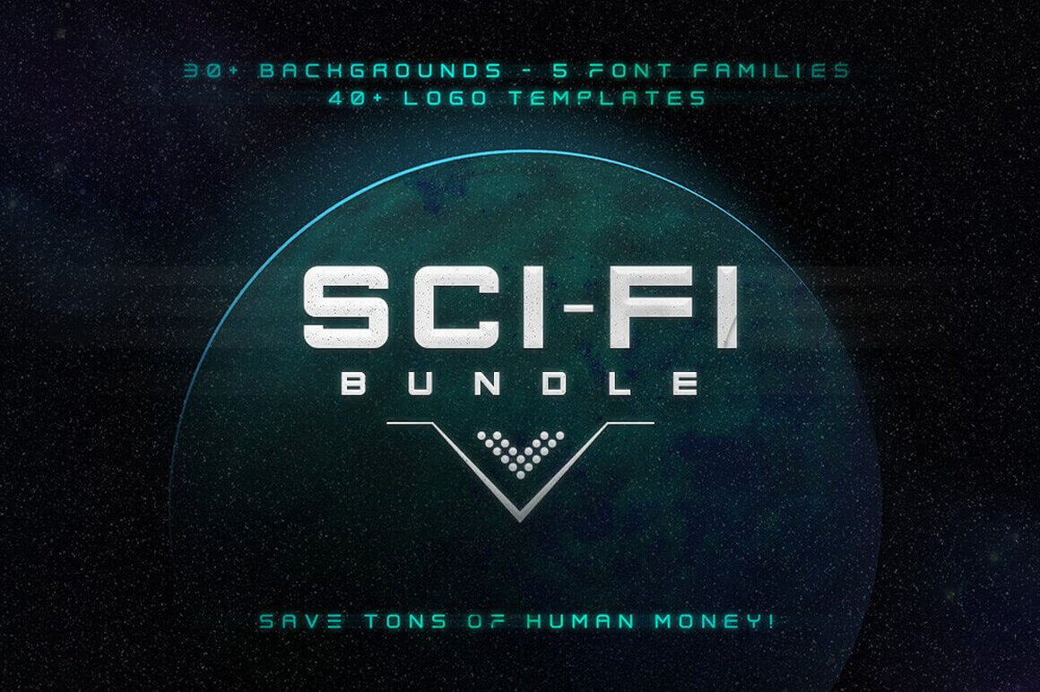 Sci-Fi Bundle: Space Fonts, Backgrounds, Logos, UI Kit – only $17!