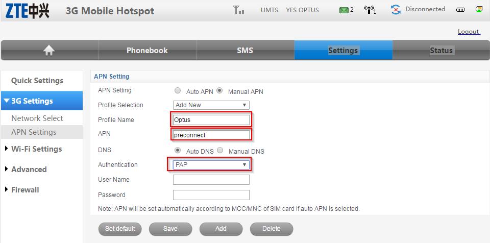ZTE MF60 Dashbaord Optus Mobile Hotspot - APN settings - Optus APN settings