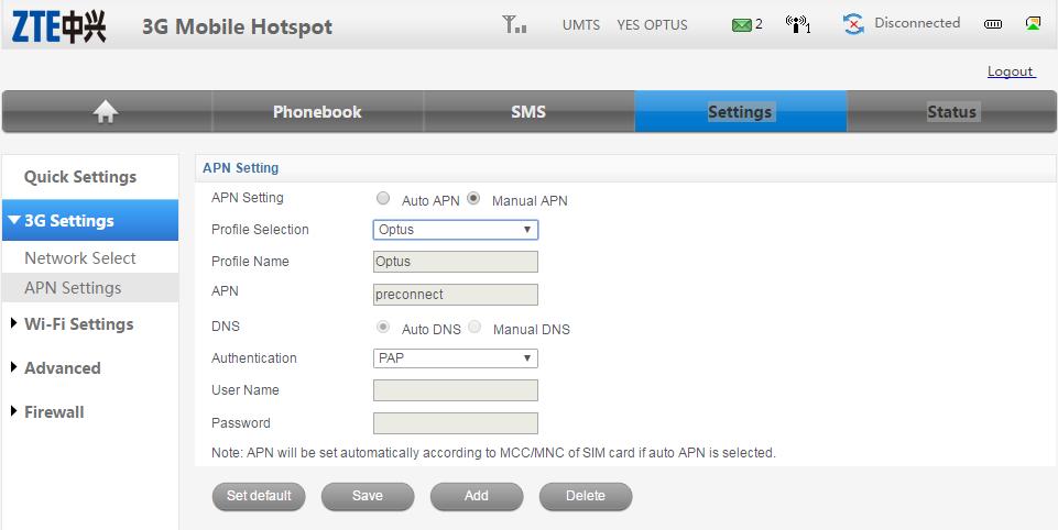 ZTE MF60 Dashbaord Optus Mobile Hotspot - APN settings Saved